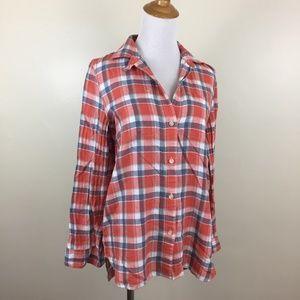 MADEWELL Linen Blend Plaid Checks Flannel Shirt